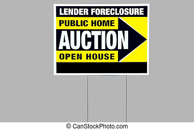 auction foreclosure sign - photographed foreclosure sign in...