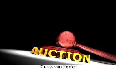 Auction gavel animation with matte.