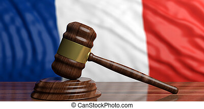 Auction gavel on France flag background. 3d illustration