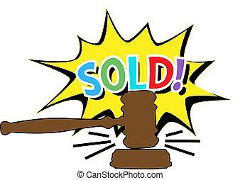 Auction gavel Sold cartoon icon - Online auction bid gavel...