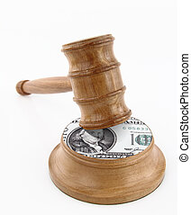 Auction gavel with dollar design