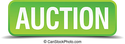 Auction green 3d realistic square isolated button