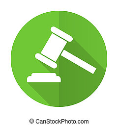 auction green flat icon court sign verdict symbol