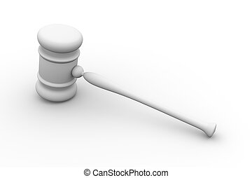 Auction Hammer - 3D rendered Illustration. Isolated on...