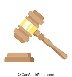 Auction hammer flat icon, business and finance, judge gavel...