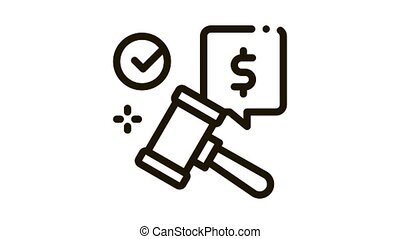 auction hammer hit for sale approval Icon Animation. black auction hammer hit for sale approval animated icon on white background