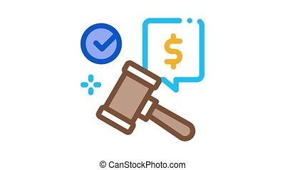 auction hammer hit for sale approval Icon Animation. color auction hammer hit for sale approval animated icon on white background