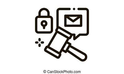auction hammer Icon Animation. black auction hammer animated icon on white background