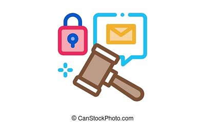 auction hammer Icon Animation. color auction hammer animated icon on white background