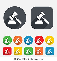 Auction hammer icon. Law judge gavel symbol. Circles and...