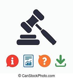 Auction hammer icon. Law judge gavel symbol.