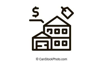 auction house Icon Animation. black auction house animated icon on white background