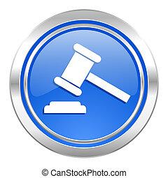 auction icon, blue button, court sign, verdict symbol