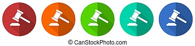 Auction icon set, red, blue, green and orange flat design web buttons isolated on white background, vector illustration