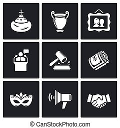 Auction icons set. Vector Illustration.