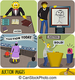 Auction Images - Illustration of four auction images in...