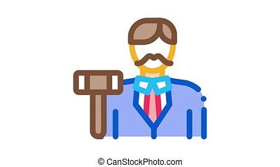 auction lead Icon Animation. color auction lead animated icon on white background