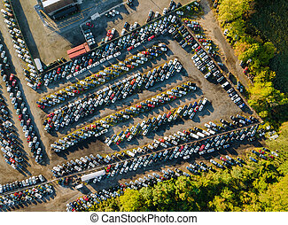 Auction lot on car distributed in used cars terminal parked