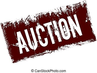 AUCTION on red retro distressed background.