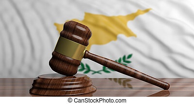 Auction or judge gavel on Cyprus waving flag background. 3d illustration
