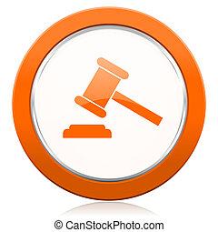 auction orange icon court sign verdict symbol