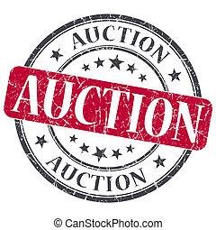 Auction red grunge round stamp on white background