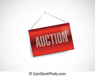 auction red hanging banner illustration design