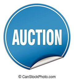 auction round blue sticker isolated on white