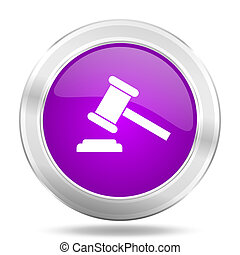 auction round glossy pink silver metallic icon, modern design web element