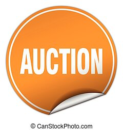 auction round orange sticker isolated on white