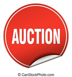 auction round red sticker isolated on white