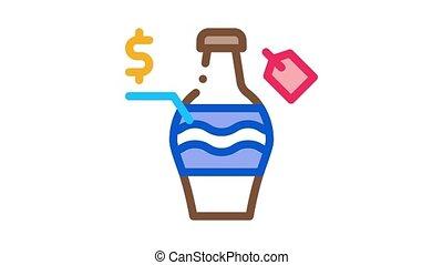 auction sale bottle Icon Animation. color auction sale bottle animated icon on white background