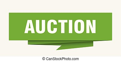 auction sign. auction paper origami speech bubble. auction...