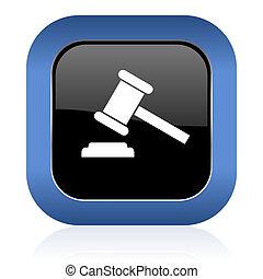 auction square glossy icon court sign verdict symbol