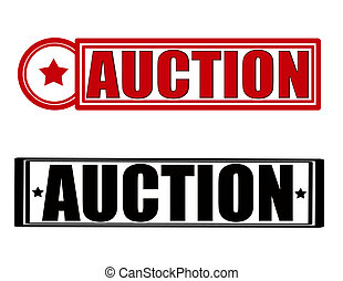 Auction - Stamp with word auction inside, vector...