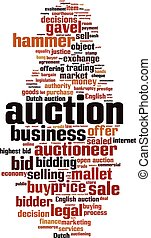 Auction-vertical.eps - Auction word cloud concept. Vector...
