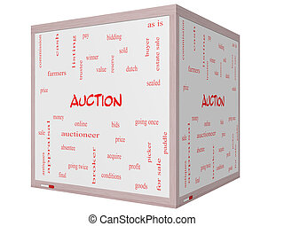 Auction Word Cloud Concept on a 3D cube Whiteboard with...