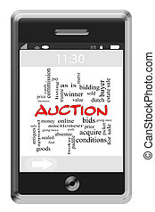 Auction Word Cloud Concept on Touchscreen Phone - Auction...