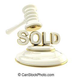 """Auction: word """"sold"""" under golden gavel"""