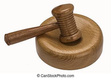 auctioneer, ou, juizes, gavel, -, isolado