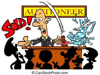 Auctioneer.WBG - Cartoon auctioneer selling smashed vase....