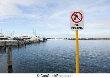 aucune pêche, port, signe
