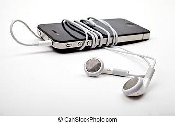 audífonos, /, auriculares, y, jugador de la música