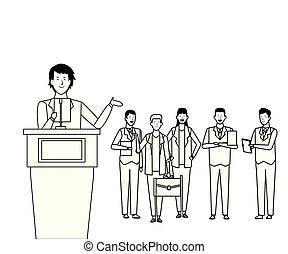 audiência, branca, pretas, pódio, homem