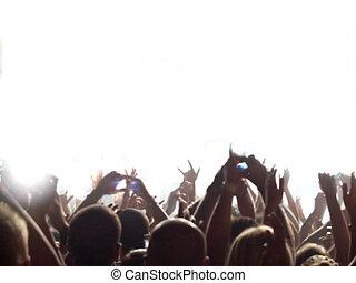 audiência, concerto, rocha