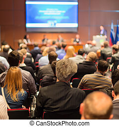 audiência, em, a, conferência, hall.