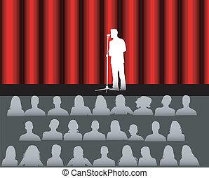 audiência, em, a, teatro