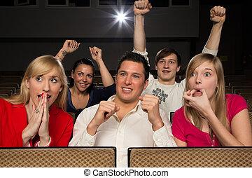 audiência, em, cinema, alegrando