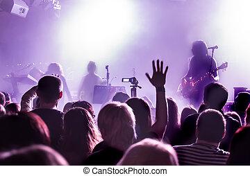 audiência, em, concerto, em, danceteria