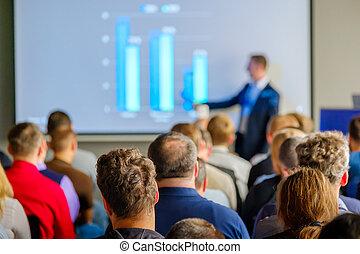 audiência, escuta, para, a, conferencista